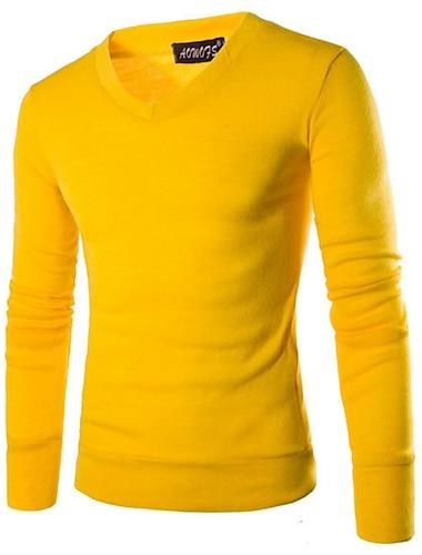 Ανδρικά Πουλόβερ Μονόχρωμο Μακρυμάνικο Κανονικό Πουλόβερ ζακέτες Λαιμόκοψη V Φθινόπωρο Χειμώνας Κρασί Βυσσινί Κίτρινο