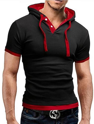 בגדי ריקוד גברים חולצה קצרה חולצה גראפי אחיד שרוולים קצרים יומי צמרות פעיל צווארון חולצה בורדו אדום כחול / קיץ