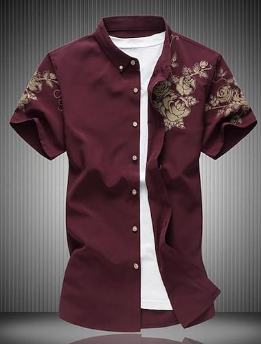 Муж. Рубашка Цветочный принт С короткими рукавами Повседневные Верхушки Хлопок На каждый день Мода Дышащий Удобный Винный Белый Черный / Пляж