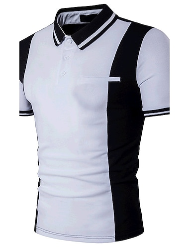 בגדי ריקוד גברים חולצת גולף חולצת טניס קולור בלוק טלאים שרוולים קצרים יומי רזה צמרות כותנה פעיל צווארון חולצה לבן שחור / קיץ
