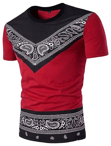 Homens Camiseta Camisa Social Grafico Estampado Cashemere Tribal Manga Curta Diario Delgado Blusas Algodao Moda de Rua Decote Redondo Branco Preto Vermelho / Esportes