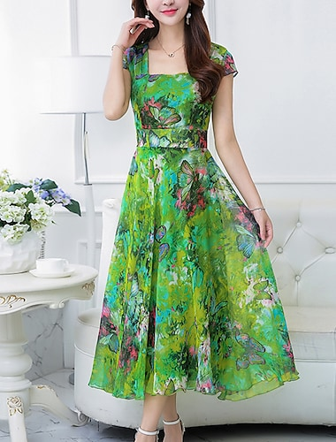 여성용 쉬폰 드레스 맥시 드레스 옐로우 퓨샤 클로버 짧은 소매 플로럴 프린트 여름 스퀘어 넥 보호 데이트 플로럴 S M L XL XXL 3XL 4XL / 플러스 사이즈 / 플러스 사이즈