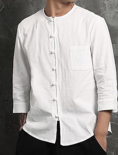 Per uomo Camicia Tinta unita Manica lunga Casual Top Personalizzato Casuale Stoffe orientali Rotonda Bianco Blu marino / Autunno / Primavera