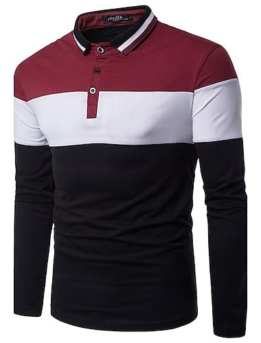 Hombre Camiseta de golf Camiseta de tenis Bloques Manga Larga Diario Delgado Tops Activo Chic de Calle Cuello Camisero Gris Rojo