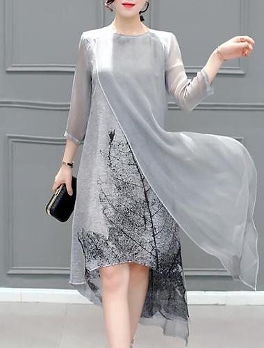 Women's Chiffon Dress Knee Length Dress Gray 3/4 Length Sleeve Print Layered Summer Round Neck Hot Going out S M L XL XXL 3XL 4XL 5XL / Plus Size / Plus Size