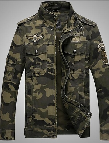 בגדי ריקוד גברים ג\'קט יומי סוף שבוע סתיו רגיל מעיל עומד רגיל צבאי Jackets שרוול ארוך להסוות ירוק צבא חאקי / כותנה