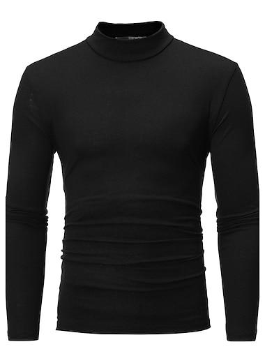 رجالي تي شيرت قميص الرسم لون سادة قياس كبير كم طويل مناسب للبس اليومي نحيل قمم قطن أساسي رقبة عالية أزرق أبيض رمادي فاتح / الخريف