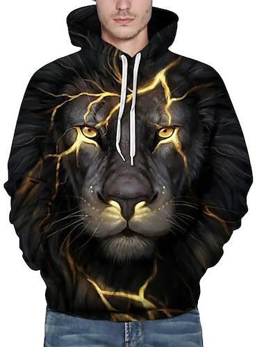 Ανδρικά Μεγάλα Μεγέθη Φούτερ με κουκούλα 3D Λιοντάρι Ζώο Στάμπα Με Κουκούλα Καθημερινά Σαββατοκύριακο Ενεργό Φούτερ Φούτερ Μακρυμάνικο Φαρδιά Μαύρο / Φθινόπωρο / Χειμώνας