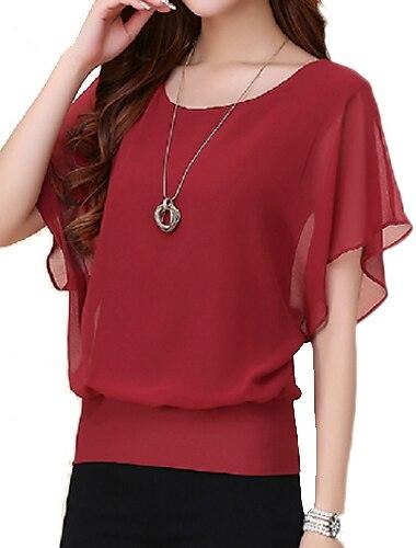 여성용 T 셔츠 솔리드 플러스 사이즈 주름장식 짧은 소매 탑스 와인 퍼플 블루
