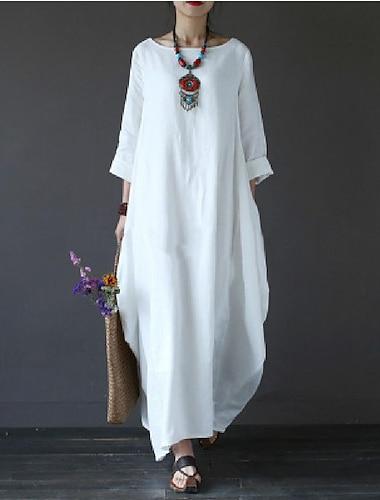 Γυναικεία Φόρεμα ριχτό από τη μέση και κάτω Μακρύ φόρεμα Πράσινο του τριφυλλιού Λευκό Μαύρο Ρουμπίνι Μπλε Απαλό 3/4 Μήκος Μανικιού Άσπρο Συμπαγές Χρώμα Τσέπη Φθινόπωρο Άνοιξη Χαμόγελο / Βαμβάκι