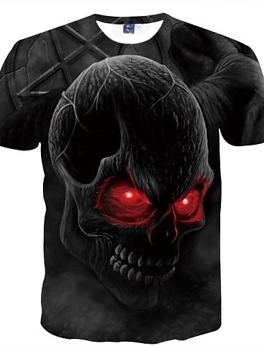 Męskie Dla obu płci Koszulki Podkoszulek Koszula Druk 3D Graficzny Czaszka Nadruk Krótki rękaw Codzienny Najfatalniejszy Szykowne i nowoczesne Przerażenie Wygodny Duży i wysoki Okrągły dekolt Głęboki