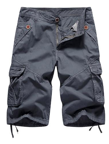 Homme Pour Bottes (Bootcut) Short Pantalon cargo du quotidien Pantalon Couleur Pleine Longueur genou Bleu Vert Veronese Marron clair Kaki Gris Clair / Printemps / Ete