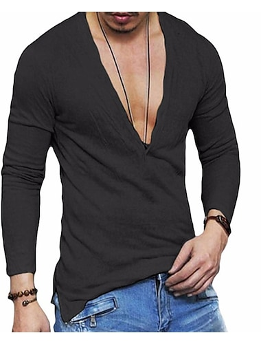 בגדי ריקוד גברים חולצה קצרה חולצה גראפי אחיד שרוול ארוך יומי צמרות פשתן בסיסי לבן שחור