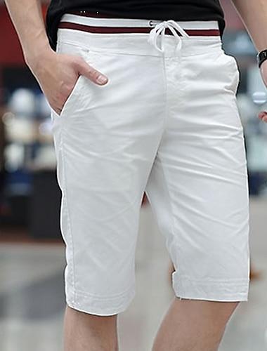 Férfi Alap Extra méret Vékony Napi Pamutszövet nadrág Rövidnadrágok Bermuda nadrág Nadrág Egyszínű Térdhossz Zsinór Medence Khakizöld Fehér Fekete Világoskék