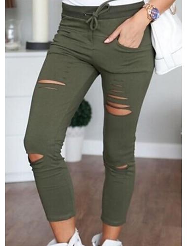 Dámské Kalhoty chinos Bavlna Vypasovaný Denní Kalhoty Jednobarevné Fialová Armádní zelená Bílá Černá