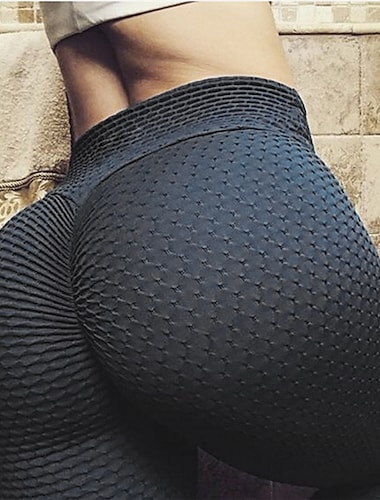 Women's High Waist Yoga Pants Tiktok Leggings Scrunch Butt Textured Booty Tights Jacquard Tummy Control Butt Lift Gray White Black Yellow Fitness Gym Workout Running Sports High Elasticity