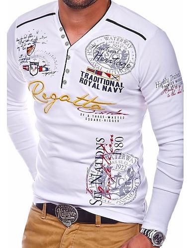 בגדי ריקוד גברים טי שירטס חולצה קצרה חולצה גראפי אותיות שרוול ארוך יומי צמרות בסיסי צווארון V פול כתום לבן