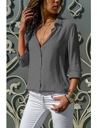 Dámské Halenka Košile Bez vzoru Jednobarevné Dlouhý rukáv Košilový límec Základní Topy Vodní modrá Žlutá Šedá / Práce / Sexy