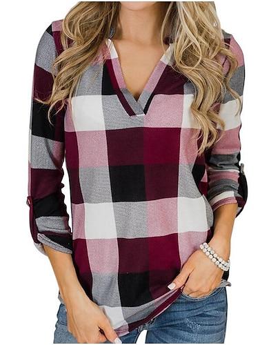 여성용 셔츠 컬러 블럭 긴 소매 일상 슬림 탑스 셔츠 카라 그레이 루비