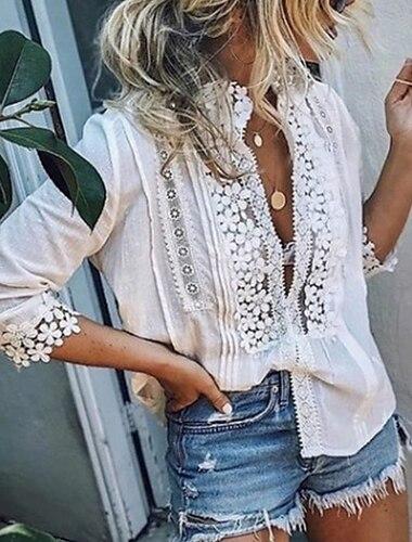 여성용 블라우스 셔츠 솔리드 긴 소매 레이스 딥 V 탑스 화이트 푸른 블러슁 핑크