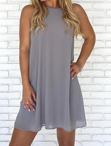 Γυναικεία Φόρεμα ριχτό Μίνι φόρεμα Θαλασσί Κρασί Γκρίζο Πράσινο του τριφυλλιού Λευκό Μαύρο Καφέ Αμάνικο Μονόχρωμο Φθινόπωρο Ανοιξη καλοκαίρι Στρογγυλή Λαιμόκοψη Βασικό καυτό Παραλία 2021 Τ M L XL XXL