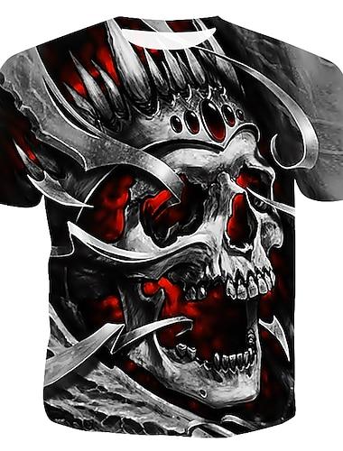 Ανδρικά Μπλουζάκι Γραφική 3D Νεκροκεφαλές Μεγάλα Μεγέθη Στάμπα Κοντομάνικο Causal Άριστος Στρογγυλή Λαιμόκοψη Γκρίζο / Καλοκαίρι