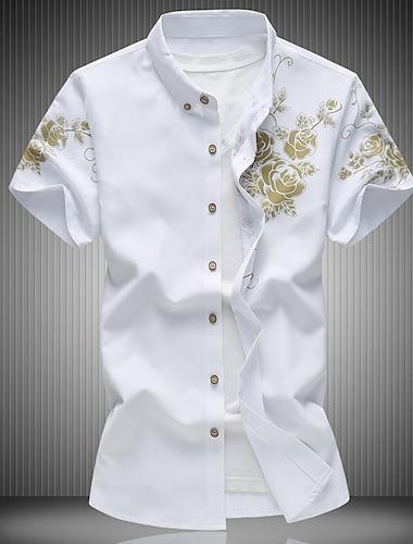 男性用 シャツ フラワー プラスサイズ 半袖 トップの レギュラーカラー ワイン ホワイト ブラック / 夏