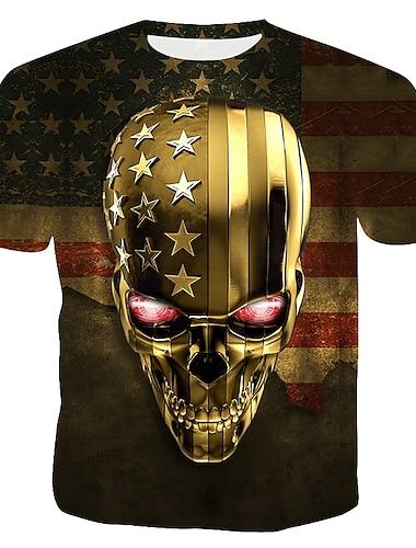 Men\'s T shirt Graphic 3D Skull Print Tops Round Neck Gold