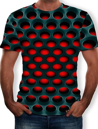 Bărbați Tricou Cămașă Grafic 3D Print Mărime Plus Manșon scurt Casual Topuri Șic Stradă Exagerat Rotund Mov Galben Rosu / Vară