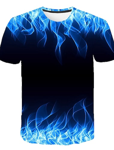 Bărbați Tricou Cămașă Grafic Flacără Imprimeu Manșon scurt Casual Topuri De Bază Designer Mare si inalt Rotund Albastru piscină Mov Trifoi