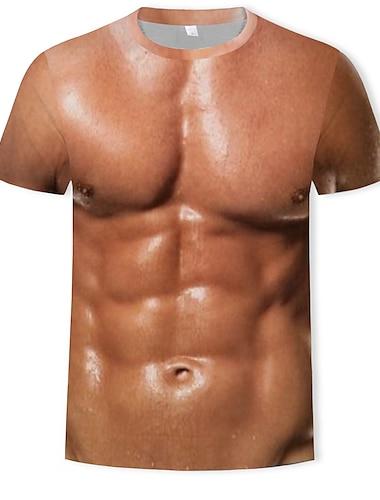 Herre T-Shirts T-shirt 3D-udskrivning Grafisk Muskel Plusstørrelser Trykt mønster Kortærmet Afslappet / Hverdag Toppe Aktiv Sjov Lilla Regnbue Hvid