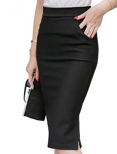 Dámské kancelář a kariéra Denní Pracovní Elegantní & luxusní Tužky Bodycon Délka kolen Sukně Jednobarevné Rozparek Základní Černá Rubínově červená