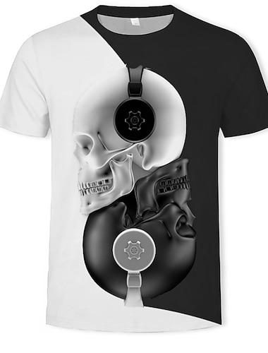 Ανδρικά Μπλουζάκι Πουκάμισο Γραφική 3D Νεκροκεφαλές Στάμπα Κοντομάνικο Causal Άριστος Κομψό στυλ street Εξωγκωμένος Στρογγυλή Λαιμόκοψη Μαύρο / Καλοκαίρι