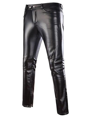 Herr Grundläggande Streetwear Punk och gotiskt Kinesiska PU Fest Utekväll Nattklubb Födelsedag Helgen Byxor Solid färg Fullängd Silver Guld Svart