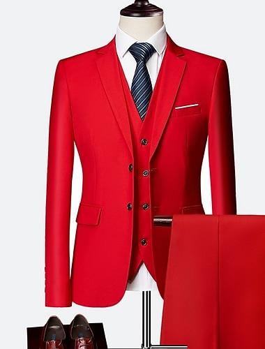 男性用 スーツ スリム ポリエステル 男性用 スーツ ブルー / パープル / イエロー - ノッチドラペル