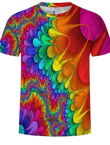 Men\'s T shirt Shirt Graphic Abstract Print Tops Round Neck Rainbow