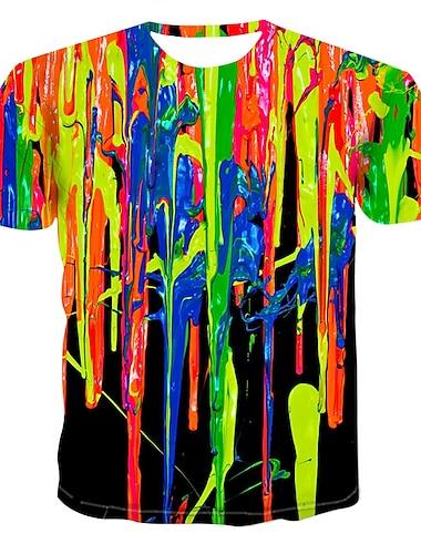Męskie Podkoszulek Koszula Graficzny Symulacja Nadruk Najfatalniejszy Okrągły dekolt Tęczowy