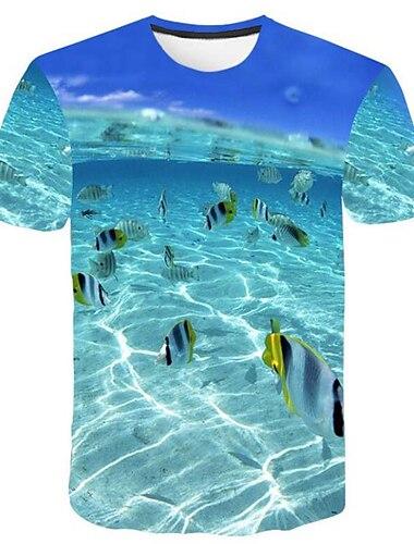 Herre T-shirt Skjorte Grafisk 3D Plusstørrelser Trykt mønster Toppe Rund hals Blå