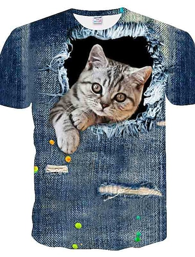 T-shirt Chemise Homme Graphique 3D Animal Grandes Tailles Imprime Mince Polyester Manches Ajustees Col Rond