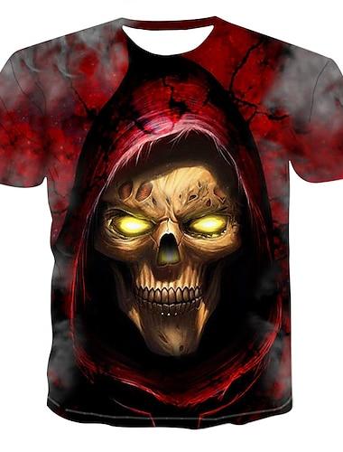 Pánské Tričko Košile Grafika 3D Lebky Tisk Topy Kulatý Rubínově červená