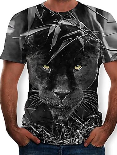 Homens Camiseta Camisa Social Grafico 3D Animal Delgado Blusas Decote Redondo Preto