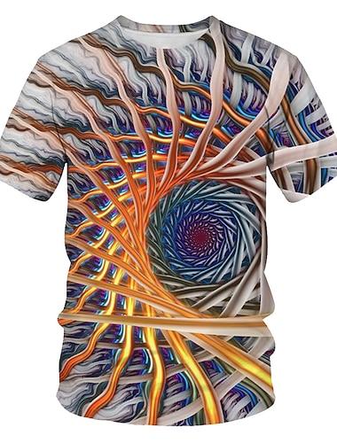 Men\'s T shirt Color Block Geometric 3D Print Short Sleeve Casual / Daily Tops Basic Streetwear Round Neck Rainbow