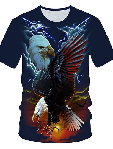 Men\'s T shirt Shirt Graphic 3D Animal Print Short Sleeve Daily Wear Tops Streetwear Exaggerated Round Neck Navy Blue / Club
