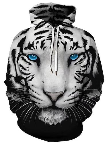 男性用 プラスサイズ プルオーバーフーディースウェットシャツ 幾何学模様 虎 フード付き デイリーウェア お出かけ 3Dプリント ベーシック カジュアル パーカー トレーナー 長袖 ブラック