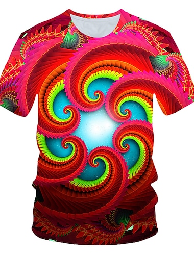 Men\'s T shirt Graphic Geometric Print Short Sleeve Daily Wear Tops Personalized Chic & Modern Streetwear Exaggerated Round Neck Red / Club