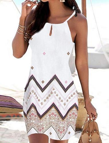 Γυναικεία Φόρεμα με λεπτή τιράντα Μίνι φόρεμα Μπλε Λευκό Μαύρο Αμάνικο Γεωμετρικό Στάμπα Καλοκαίρι Στρογγυλή Λαιμόκοψη Καθημερινό Μπόχο Αργίες Παραλία 2021 Τ M L XL