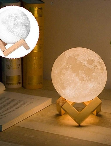 3D Moon Lamp 3 Color Change Flap LED Night Light Print Moon USB Home Decorating Bedside Lamp Christmas Gift for Baby and Kids
