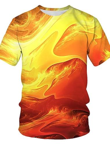 Men\'s T shirt Shirt Geometric 3D Plus Size Print Short Sleeve Daily Tops Streetwear Punk & Gothic Round Neck Orange
