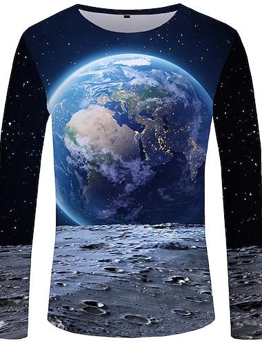 Homens Camiseta Camisa Social Estampa Colorida Tamanhos Grandes Manga Longa Roupa Diaria Blusas Basico Decote Redondo Azul