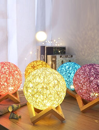 USB Wood Rattan Twine Ball Lights Table Lamp Room Home Art Decor Desk Light for Bedroom Living Room